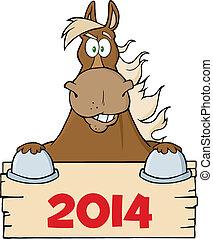 sinal, sobre, cavalo, marrom, em branco