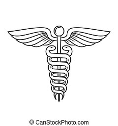 sinal., style., vetorial, caduceus, linha, médico