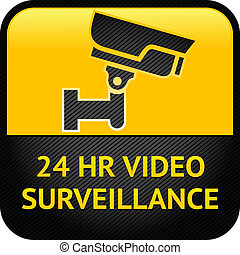 sinal, surveillance video, cctv, etiqueta