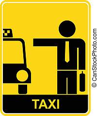 sinal táxi, símbolo, -