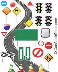 sinal, tráfego, ícone