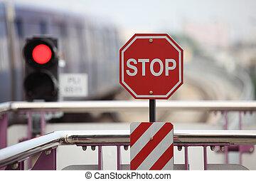 sinal, tráfego, céu-trem