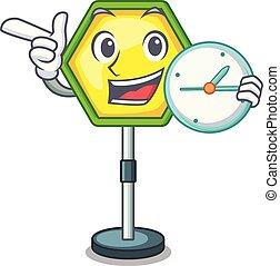 sinal, tráfego, caricatura, estrada, relógio