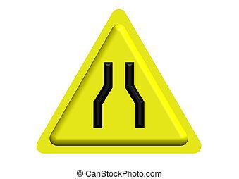 sinal tráfego, de, estrada estreita, à frente