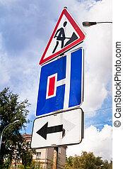 sinal tráfego, em, estrada, reparar, área