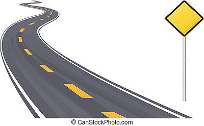 sinal tráfego, informação, espaço cópia, ligado, rodovia