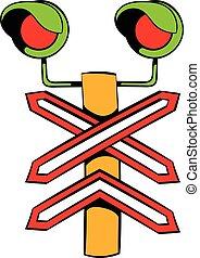 sinal, trilho, cruzamento, ícone, caricatura, ícone