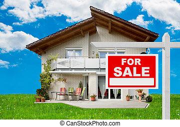 sinal venda, frente, casa