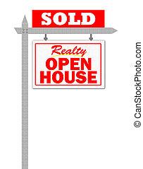 sinal vendido, casa, realty, abertos