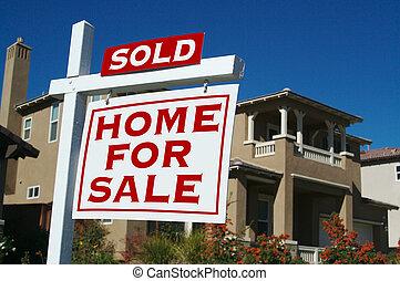sinal vendido, lar, venda