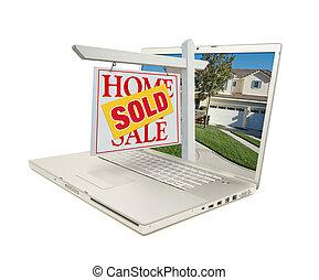 sinal vendido, ligado, um, laptop
