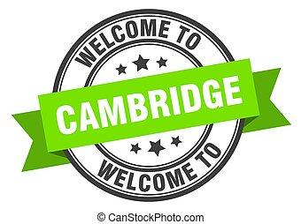 sinal, verde, bem-vindo, stamp., cambridge