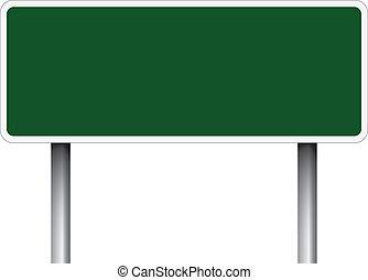 sinal., verde, estrada, em branco