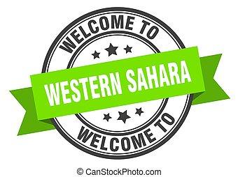 sinal, verde, sahara, stamp., bem-vindo, ocidental