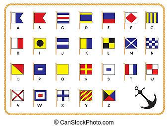 sinal, vetorial, bandeiras, âncora, náutico