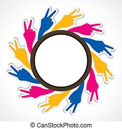 sinal, vitória, mão, mostrar