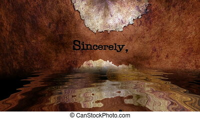 Sincerely text on grunge background reflecting in water