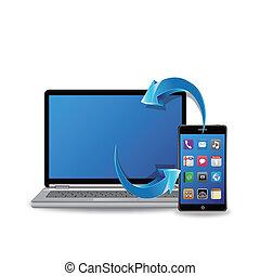 sincronizar, computador portatil, elegante, teléfono