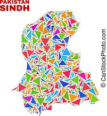Sindh Province Map - Mosaic of Color Triangles
