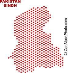 Sindh Province Map - Mosaic of Lovely Hearts