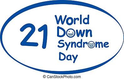 sindrome, giù, vettore, disegno, mondo, logotipo, giorno