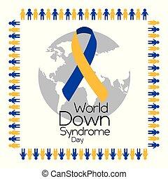 sindrome, persone, cornice, giù, tenere mani, mondo, giorno, fare