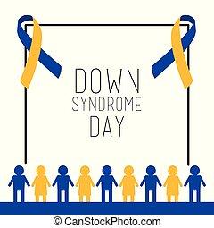 sindrome, persone, insieme, giù, invito, giorno, scheda