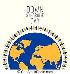 sindrome, persone, simbolo, giù, mondo, giorno, intorno