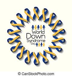 sindrome, sostegno, giù, consapevolezza salute, mondo, giorno, scheda