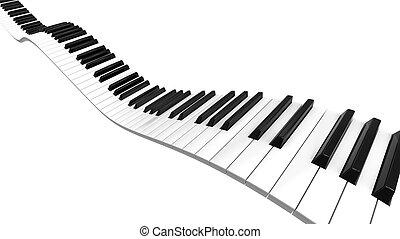 Sine curve Piano - Piano keyboard sine curve on black level.