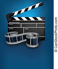Blue cinema background with black movie clapper