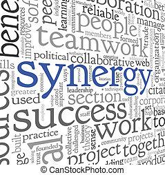 sinergia, concetto, in, parola, etichetta, nuvola