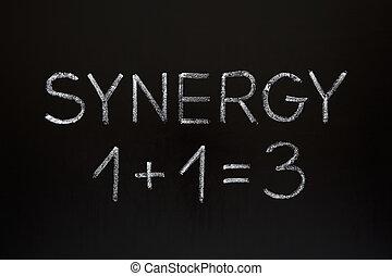 sinergia, concetto, lavagna