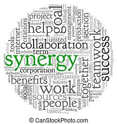 sinergia, concetto, parola, nuvola, etichetta