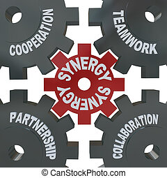 sinergia, lavoro squadra, -, ingranaggi, azione