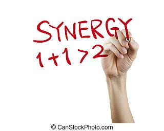 sinergia, palabra escrita, mano