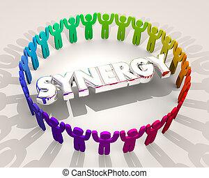 sinergia, pessoas, círculo, trabalhe, 3d, ilustração