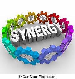 sinergia, -, pessoas, engrenagens, ao redor, palavra