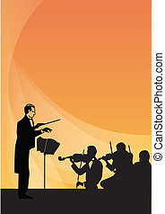 sinfonía, conductor, orquesta