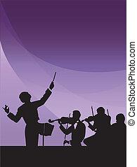 sinfonia, condutor, orquestra