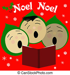 sing noel - children singing Christmas carols illustration...