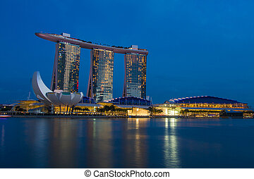 Singapore - 17 Feb 2015,Singapore city scape at night with ...