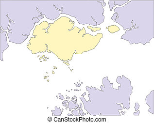 Singapore, editable vector map includes surrounding countries, in color, all objects editable. Great for illustrations, web graphics and graphic design. Includes sections of surrounding countries, Malaysia and Indonesia.