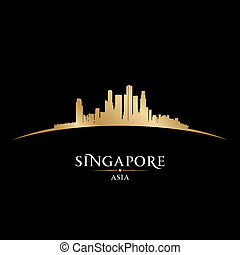 Singapore Asia city skyline silhouette black background -...