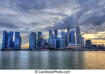 singapore, baia, orizzonte, tramonto, marina, durante