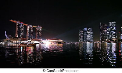 Singapore bay at night
