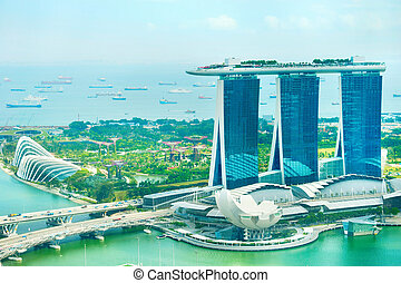 Singapore bay - Panorama of Singapore bay . View from above