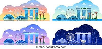 Singapore. Beautiful horizontal panoramic view.