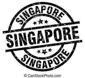 Singapore black round grunge stamp