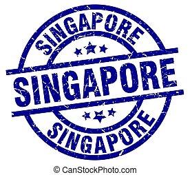 Singapore blue round grunge stamp